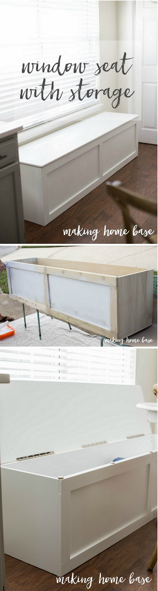 Check out how to build an easy DIY window seat with storage