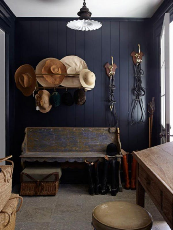 Love the rustic decor and navy blue walls
