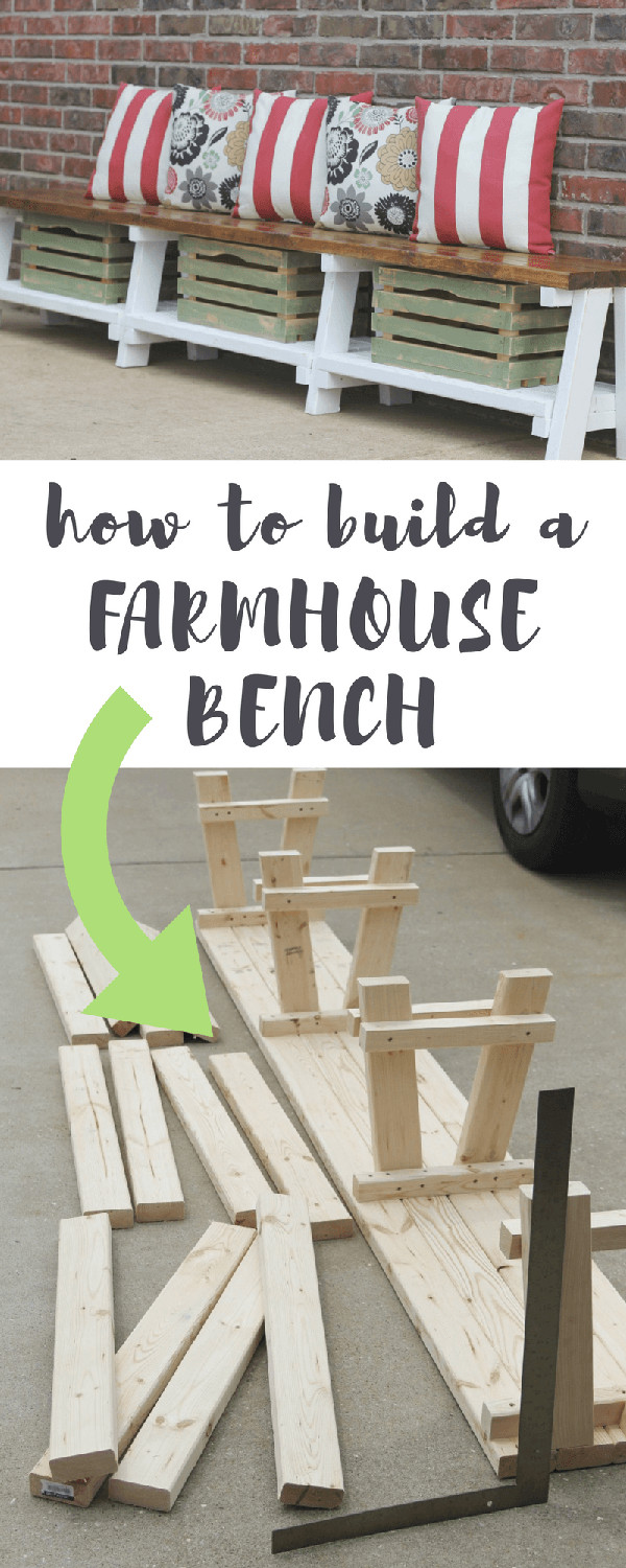 60+ Easy DIY Shoe Rack Ideas You Can Build on a Budget - Check out how to build this DIY farmhouse storage bench