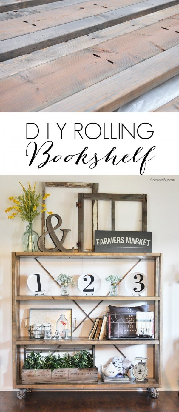 22 Easy DIY Bookshelf Ideas You Can Build at Home - Check out how to make this DIY rolling bookshelf yourself