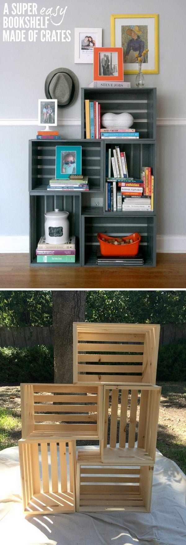 22 Easy DIY Bookshelf Ideas You Can Build at Home - Check out how to build an easy DIY bookshelf from crates