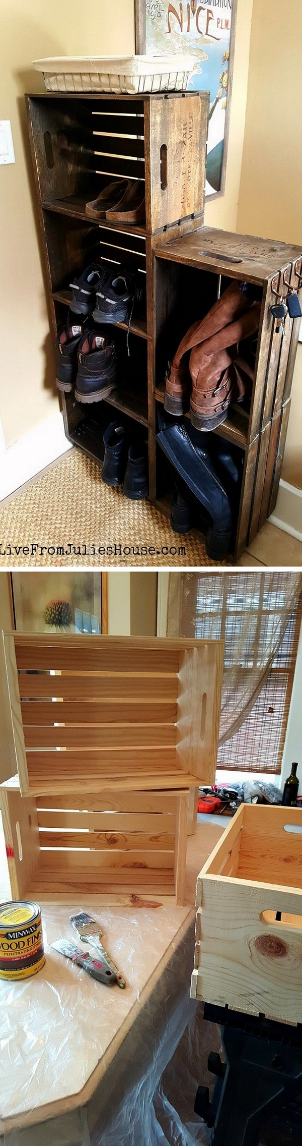 60+ Easy DIY Shoe Rack Ideas You Can Build on a Budget - Check out how to build an easy rustic DIY wooden crate shoe rack