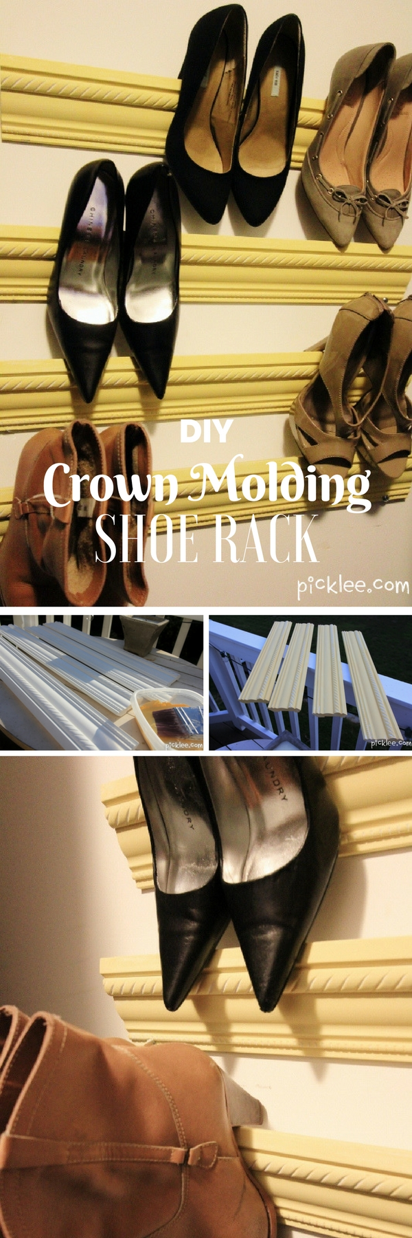 60+ Easy DIY Shoe Rack Ideas You Can Build on a Budget - Check out how to build a DIY shoe rack from crown molding