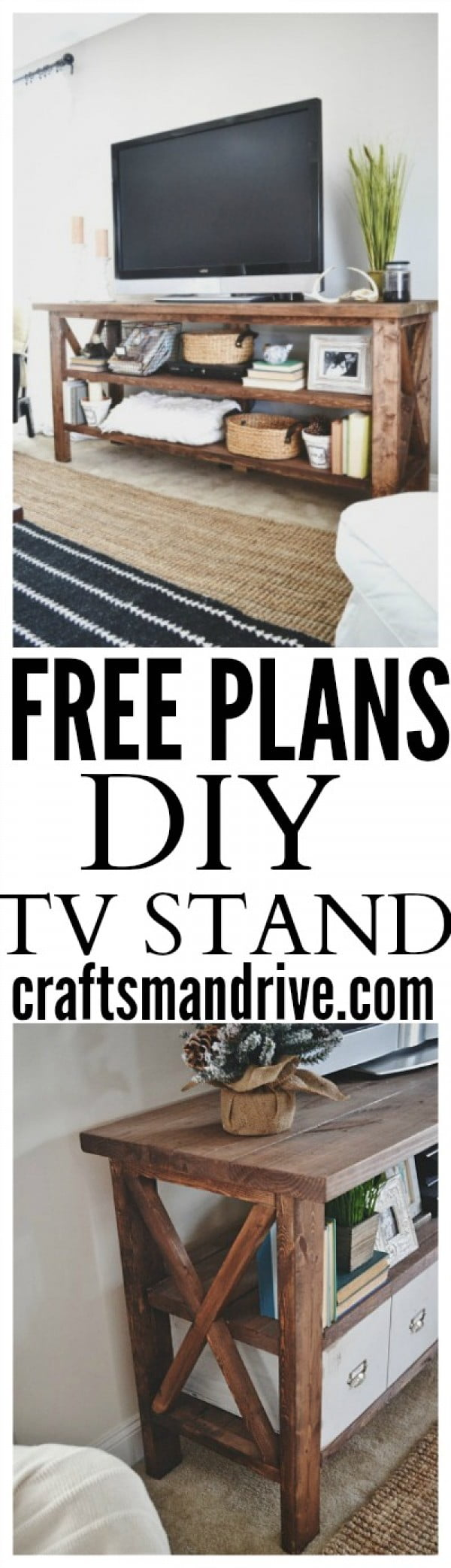 Check out the plans for a DIY TV stand