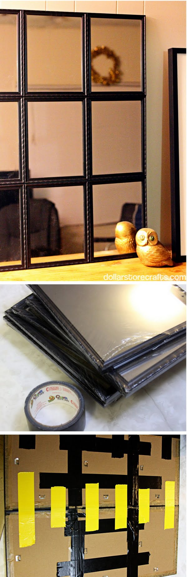 50 Fab DIY Mirror Frames You Can Easily Make Yourself - Check out how to build a DIY mirror from Dollar Store finds