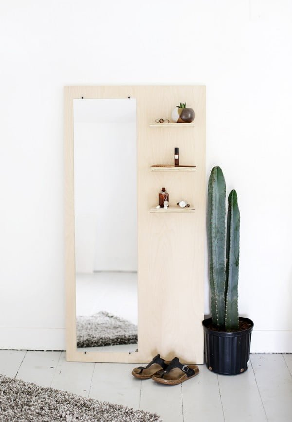 50 Fab DIY Mirror Frames You Can Easily Make Yourself - Check out how to make a DIY minimalist plywood mirror for the entryway