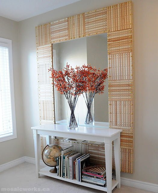 50 Fab DIY Mirror Frames You Can Easily Make Yourself - How to make a #DIY start and stripes mirror frame from pencils #homedecor