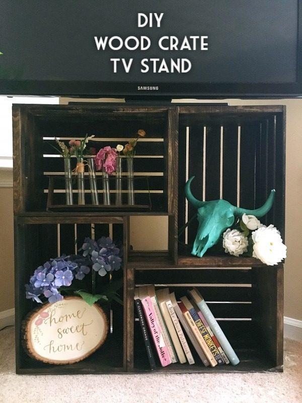 rustic tv stand from crates