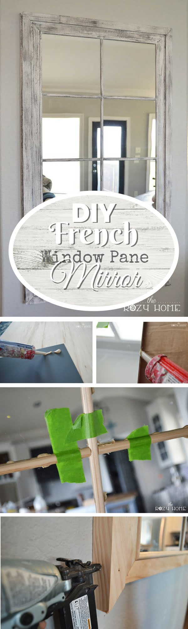 50 Fab DIY Mirror Frames You Can Easily Make Yourself - Check out how to make this DIY French window pane mirror