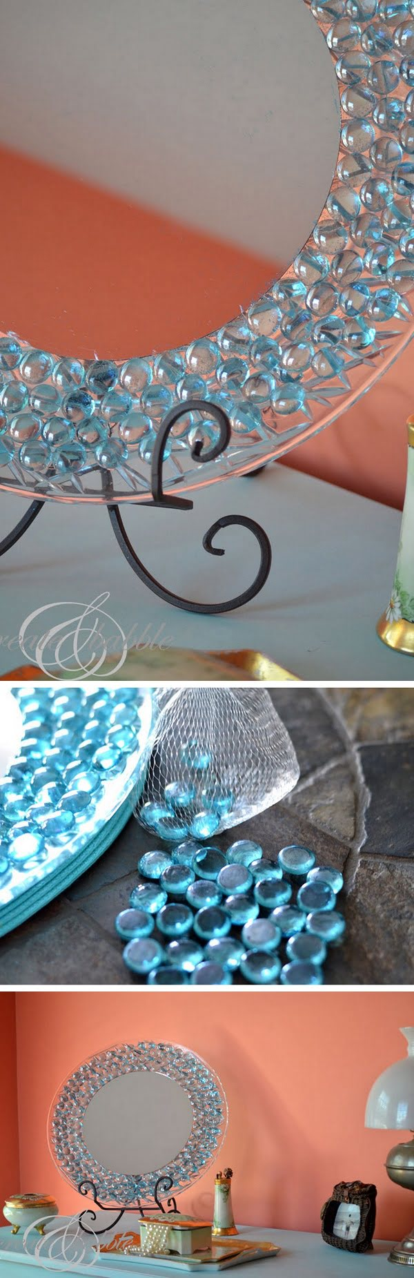 50 Fab DIY Mirror Frames You Can Easily Make Yourself - Check out how to make a DIY mirror frame with dollar store gems