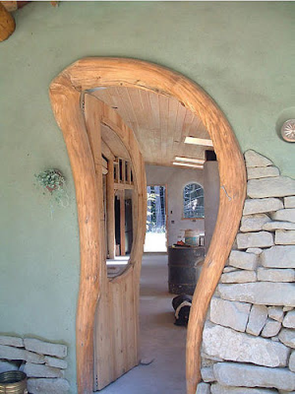 Cob house doorway inspired by nature