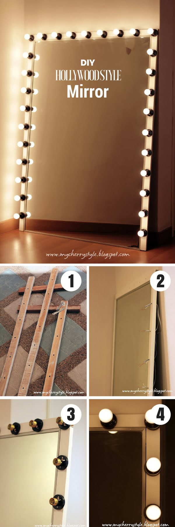50 Fab DIY Mirror Frames You Can Easily Make Yourself - Check out how to make this DIY Hollywood style mirror with lights @istandardesign