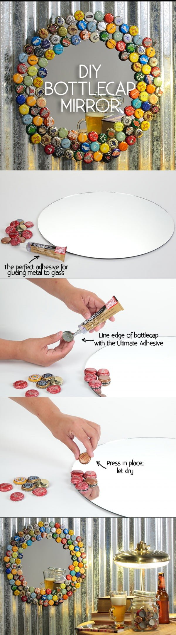 50 Fab DIY Mirror Frames You Can Easily Make Yourself - Check out how to make a DIY decorative mirror frame from bottlecaps