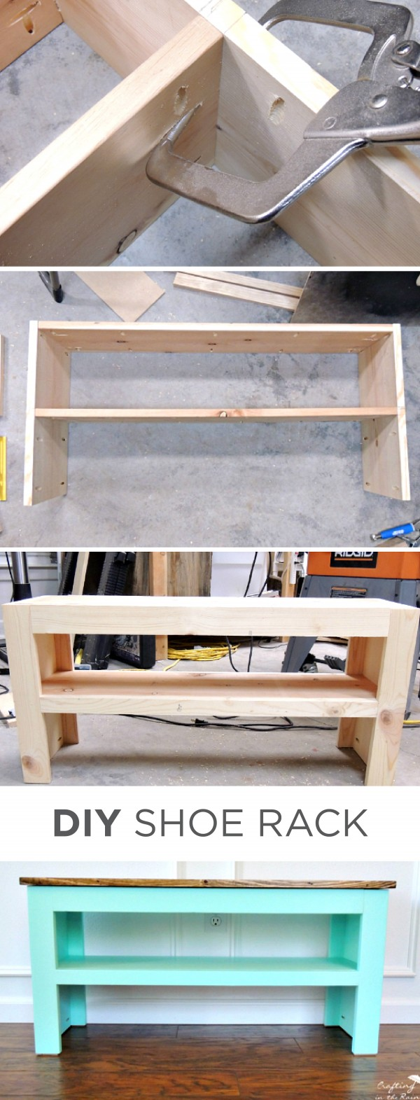 60+ Easy DIY Shoe Rack Ideas You Can Build on a Budget - Check out how to make a simple DIY shoe storage bench