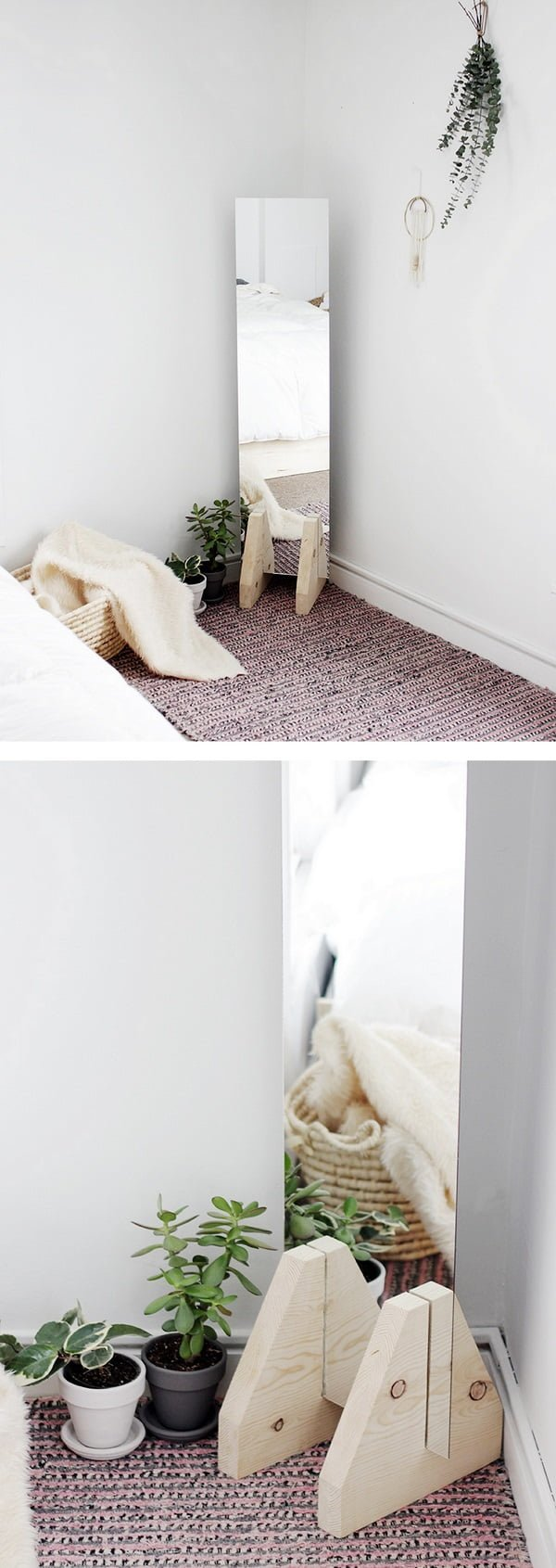 50 Fab DIY Mirror Frames You Can Easily Make Yourself - Check out how to make an easy DIY minimalist floor mirror