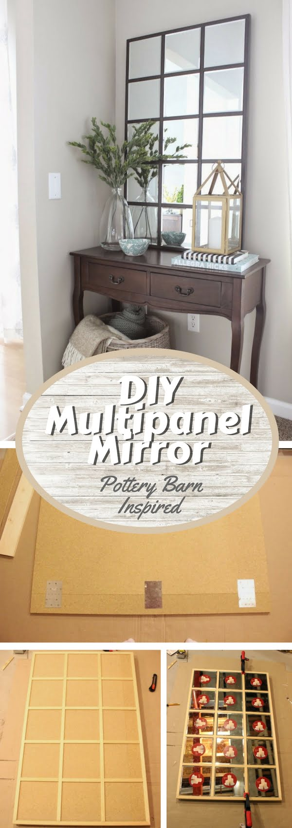 50 Fab DIY Mirror Frames You Can Easily Make Yourself - Check out how to make a DIY Pottery Barn Eagan multipanel mirror knock off