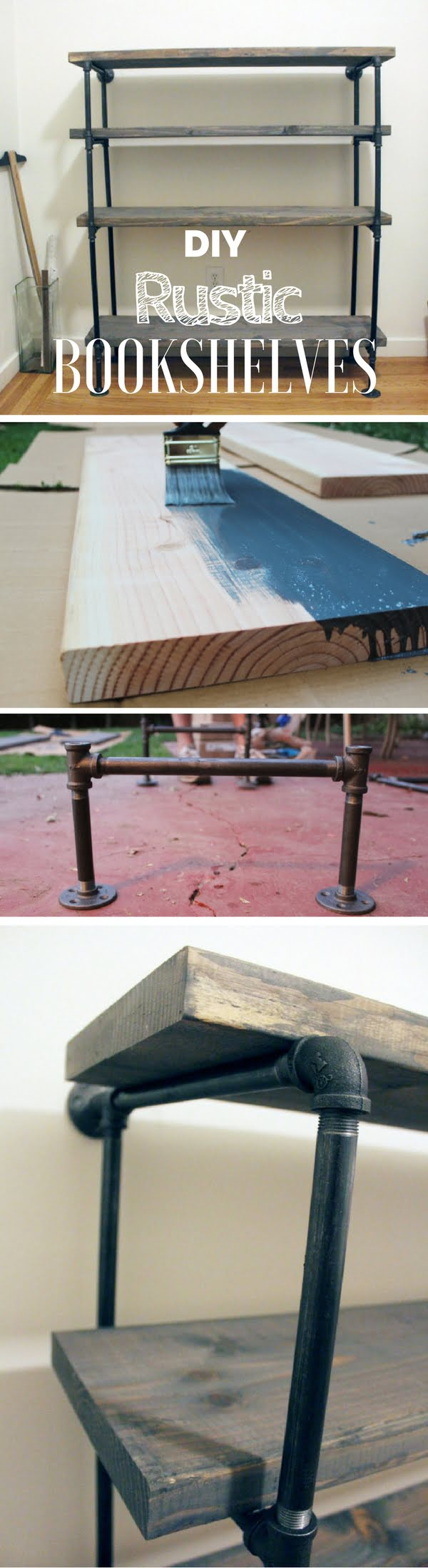22 Easy DIY Bookshelf Ideas You Can Build at Home - Check out how to build these DIY industrial rustic shelves at home
