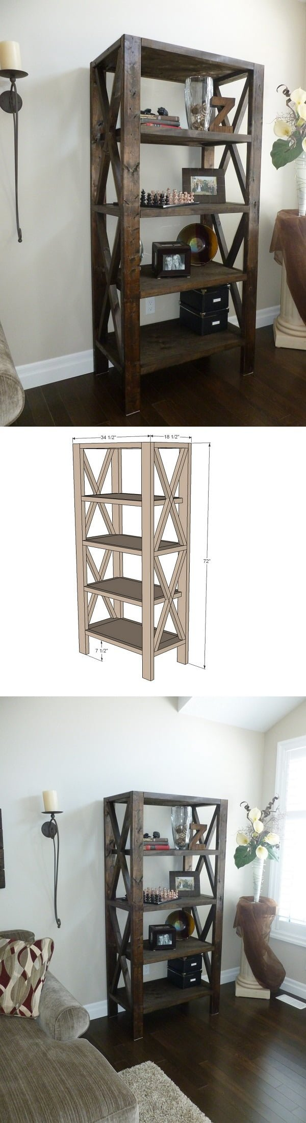 22 Easy DIY Bookshelf Ideas You Can Build at Home - Check out the tutorial how to build a   X tall bookshelf