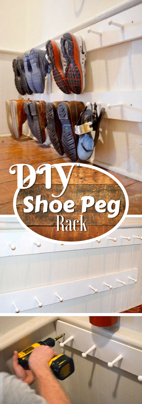 60+ Easy DIY Shoe Rack Ideas You Can Build on a Budget - Check out how to build a very easy DIY shoe peg rack
