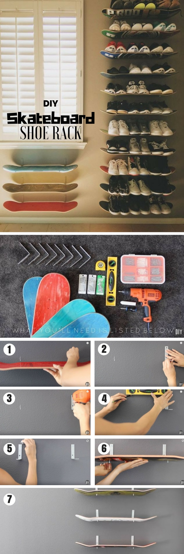 60+ Easy DIY Shoe Rack Ideas You Can Build on a Budget - Check out how to build a DIY shoe rack from old skateboards