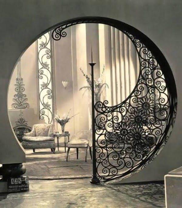 Vintage art deco doorway design from the 1930s