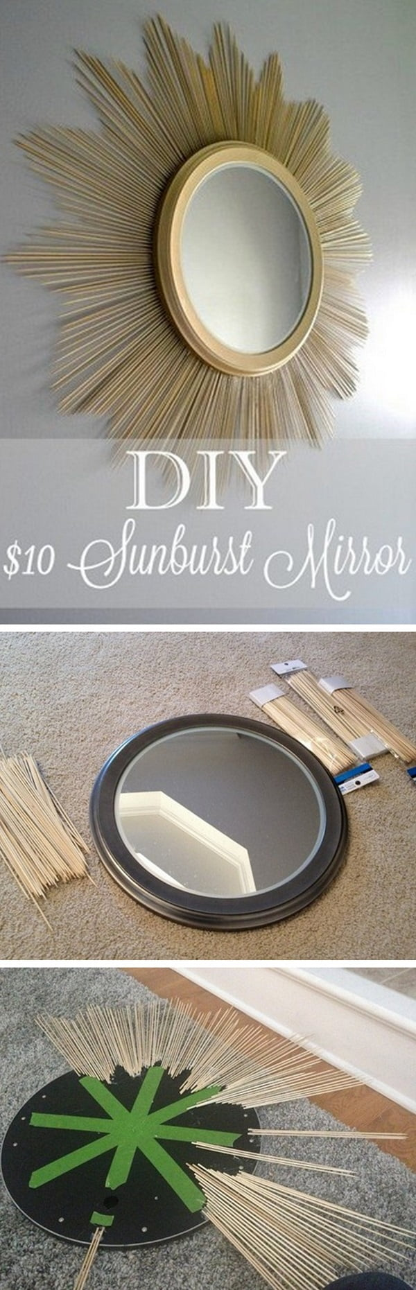 50 Fab DIY Mirror Frames You Can Easily Make Yourself - Check out how to make this DIY sunburst mirror for $10