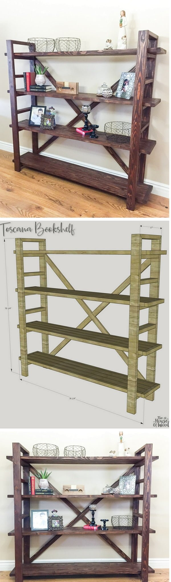 22 Easy DIY Bookshelf Ideas You Can Build at Home - Check out how you can build a DIY Toscana bookshelf yourself