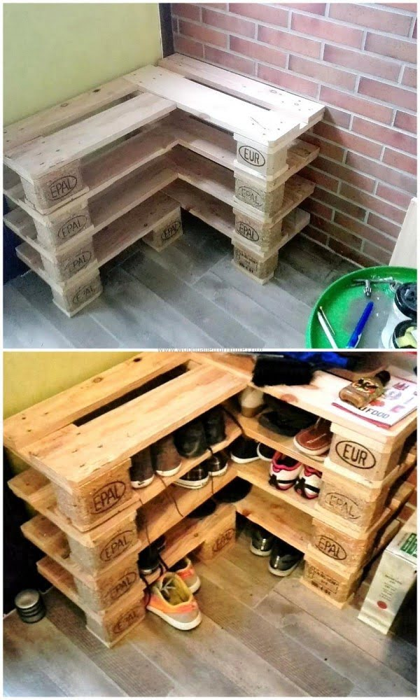 60+ Easy DIY Shoe Rack Ideas You Can Build on a Budget - Check out how to build this very easy DIY shoe rack from pallet wood