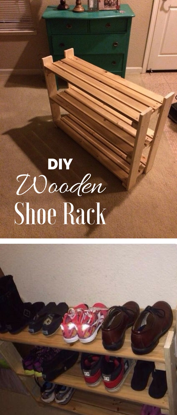60+ Easy DIY Shoe Rack Ideas You Can Build on a Budget - Check out how to build an easy DIY wooden shoe rack @istandraddesign