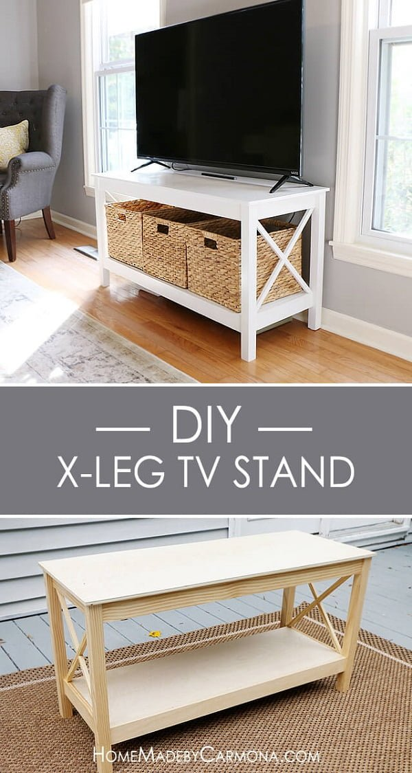 X-leg Pottery Barn style tv stand