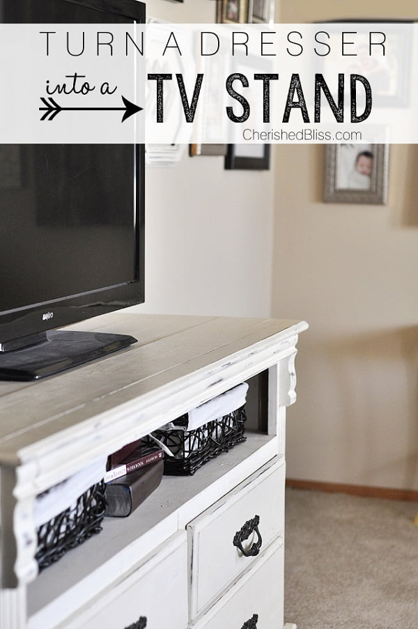 How to turn an old dresser into a TV stand. Brilliant project!