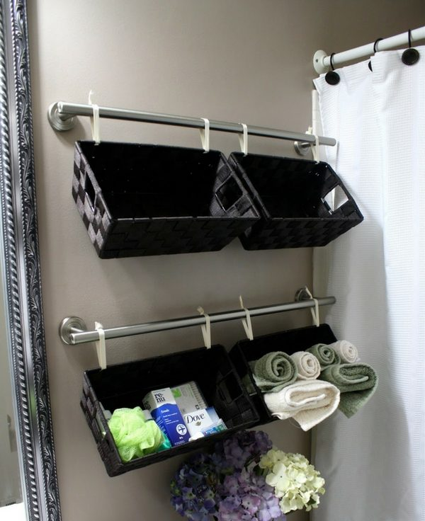 How to make DIY basket shelves in a small bathroom