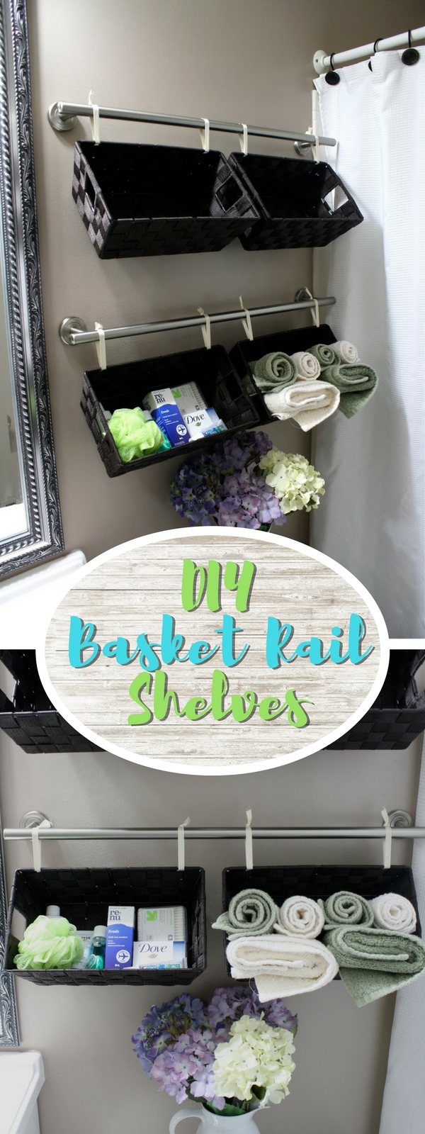 Check out how to make DIY basket shelves in a small bathroom