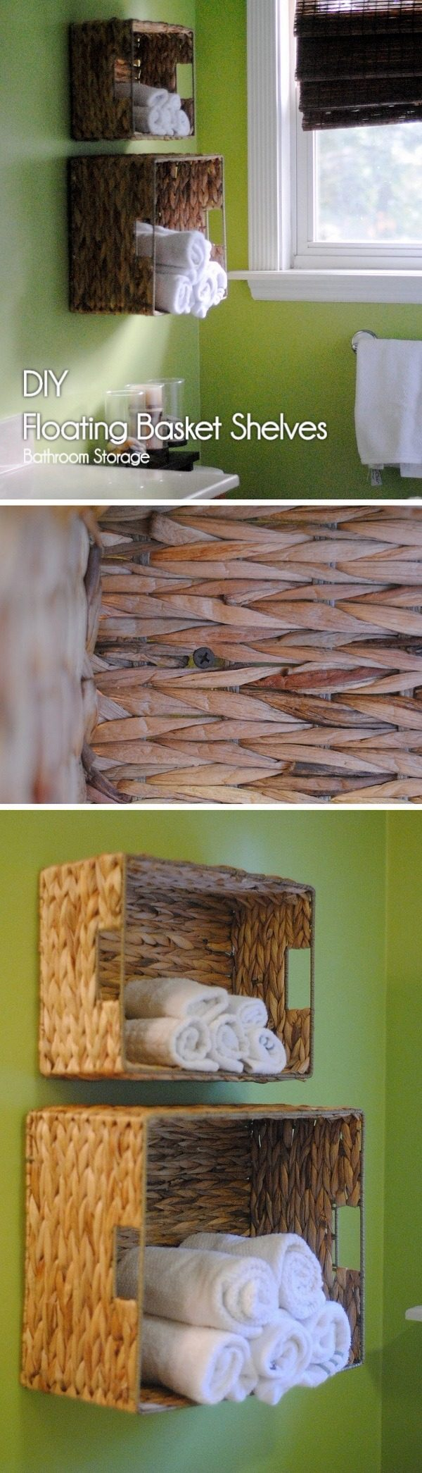 Check out how to build #DIY wall suspended basket shelves in minutes #BathroomIdeas #HomeDecorIdeas #RusticDecor