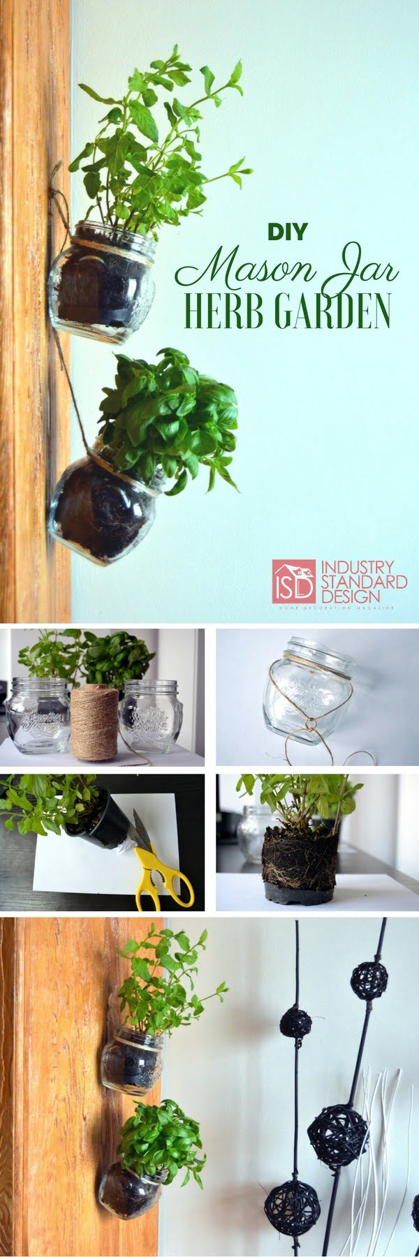 Check out how to make a very easy DIY mason jar hanging herb garden