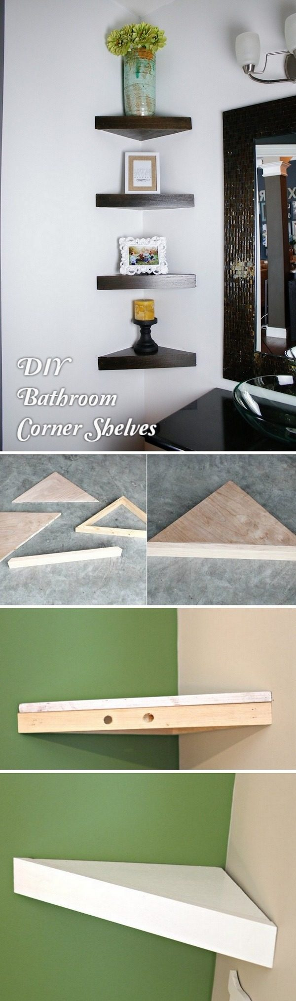 Check out how to build a #DIY corner shelf for a small bathroom #HomeDecorIdeas #BathroomDesign