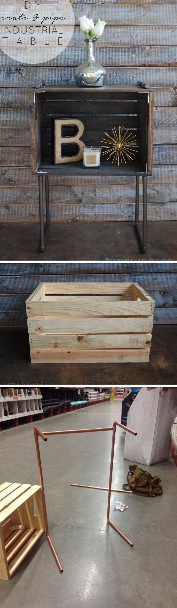 15 Brilliant DIY Crafts You Can Make with Wood Crates - Check out how to build a DIY industrial table from crates and pipe