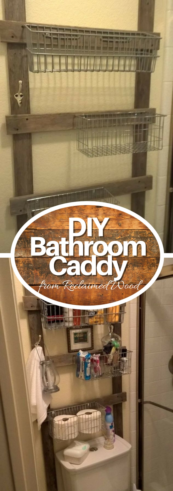 Check out how to build a DIY rustic reclaimed wood bathroom storage caddy