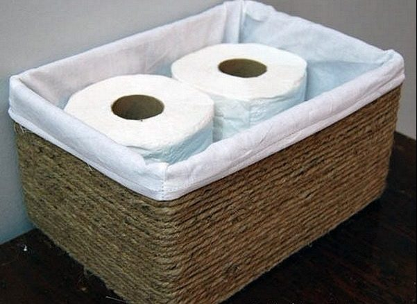 Check out the tutorial on how to make a  rustic storage basket from a carton box and rope