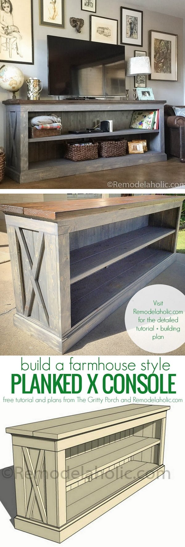 Check out how to build a DIY farmhouse sideboard TV console
