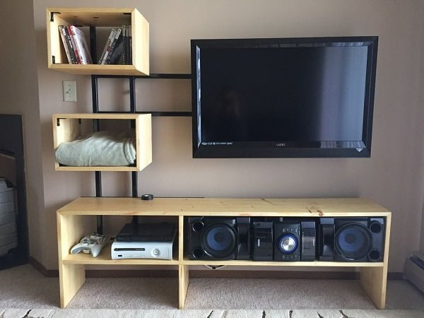 Diy tv stand 30 ideas you can totally build at home how to build a diy floating tv stand homedecorideas solutioingenieria Gallery