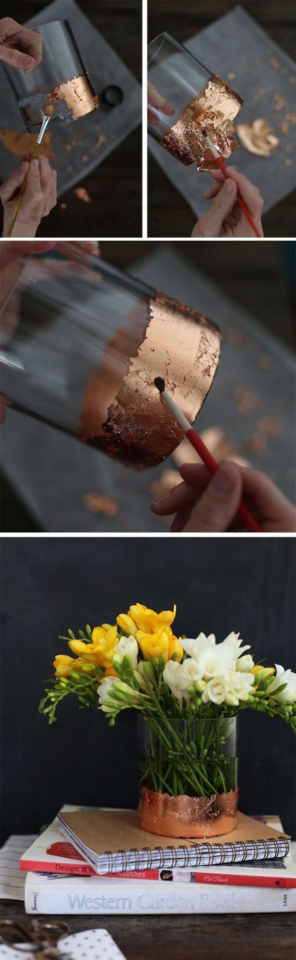 Check out how to make a DIY gold leaf vase