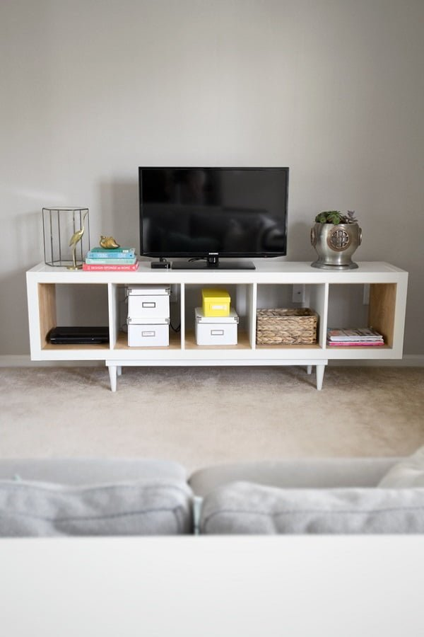 Turn an IKEA shelving unit into a #DIY TV stand. Nice idea! #homedecorideas