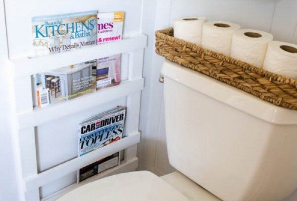 How to build a DIY wall mounted magazine rack in the bathroom