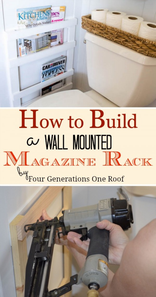 Check out how to build a DIY wall mounted magazine rack in the bathroom