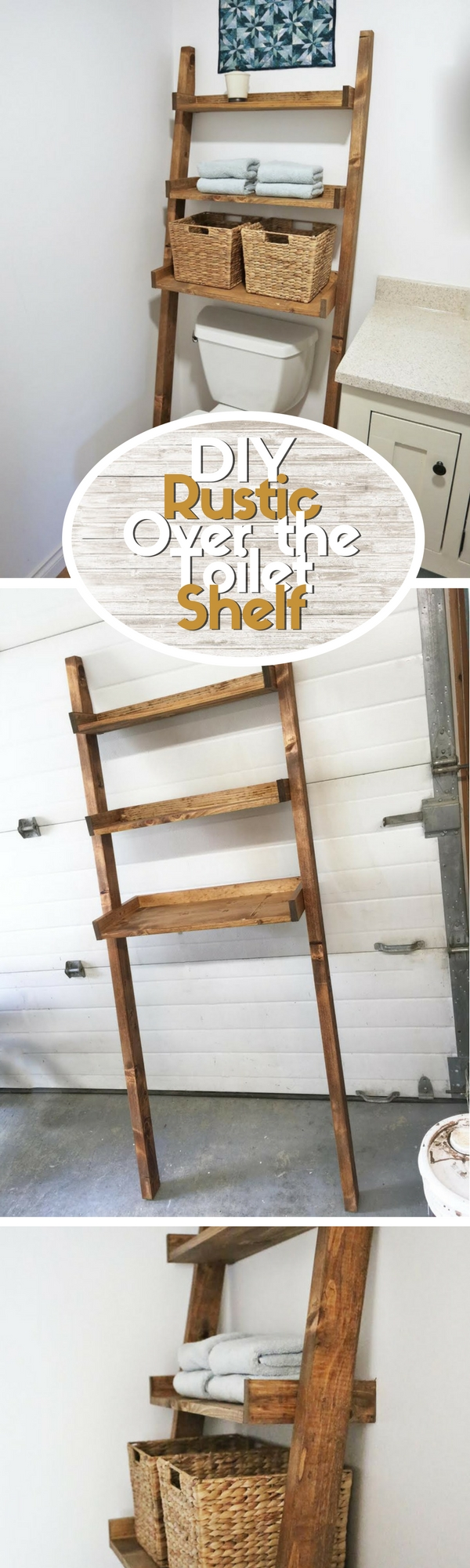Check out how to build a DIY leaning over the toilet shelf for a small bathroom