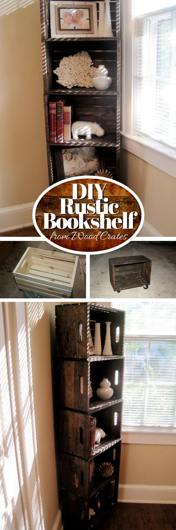 15 Brilliant DIY Crafts You Can Make with Wood Crates - Check out how to build an easy DIY bookshelf from wood crates