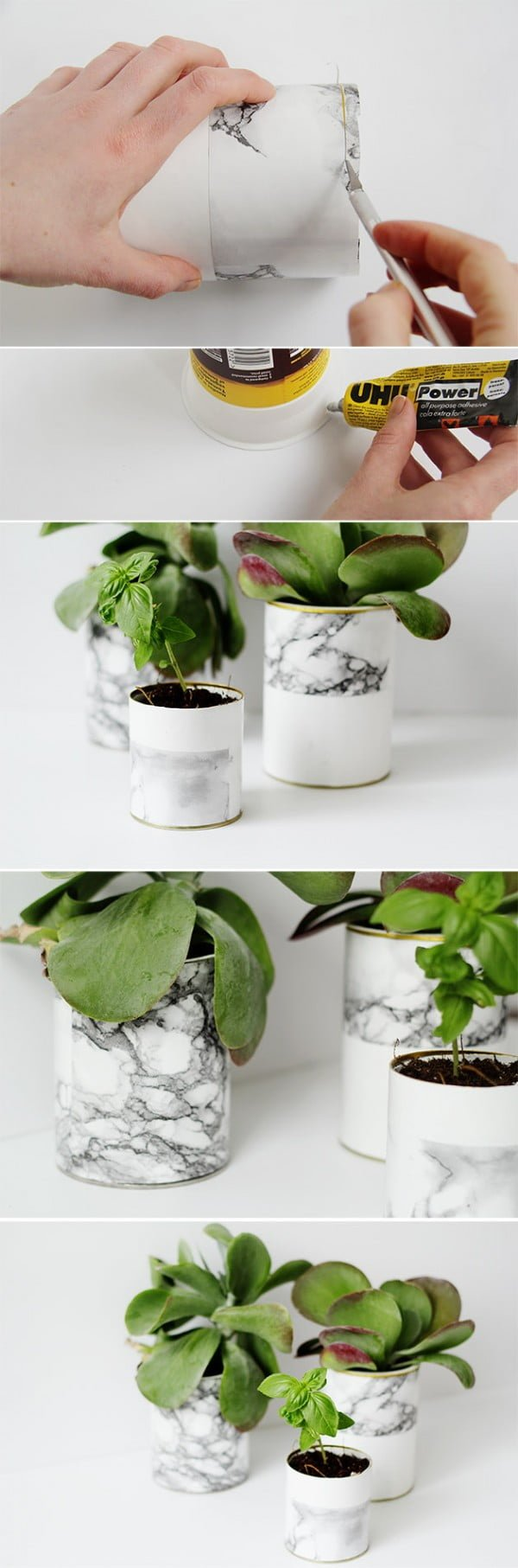 Check out how to make DIY faux marble planter pots