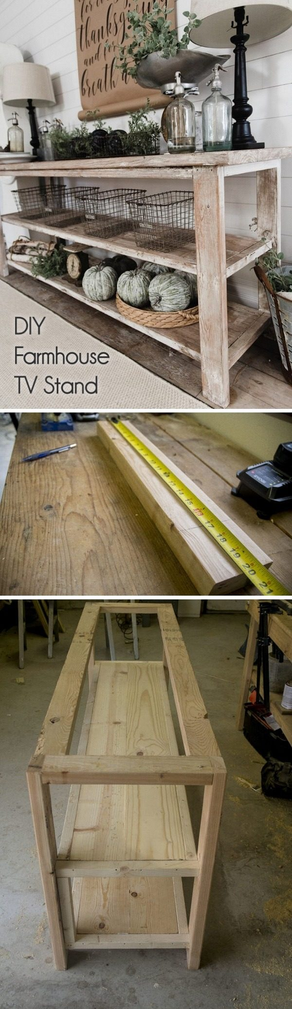 Check out how to build a DIY farmhouse style tv stand