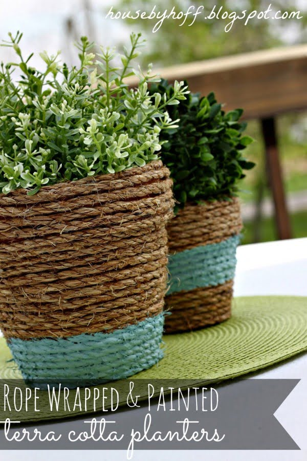 Check out how to make DIY rope terracotta planters